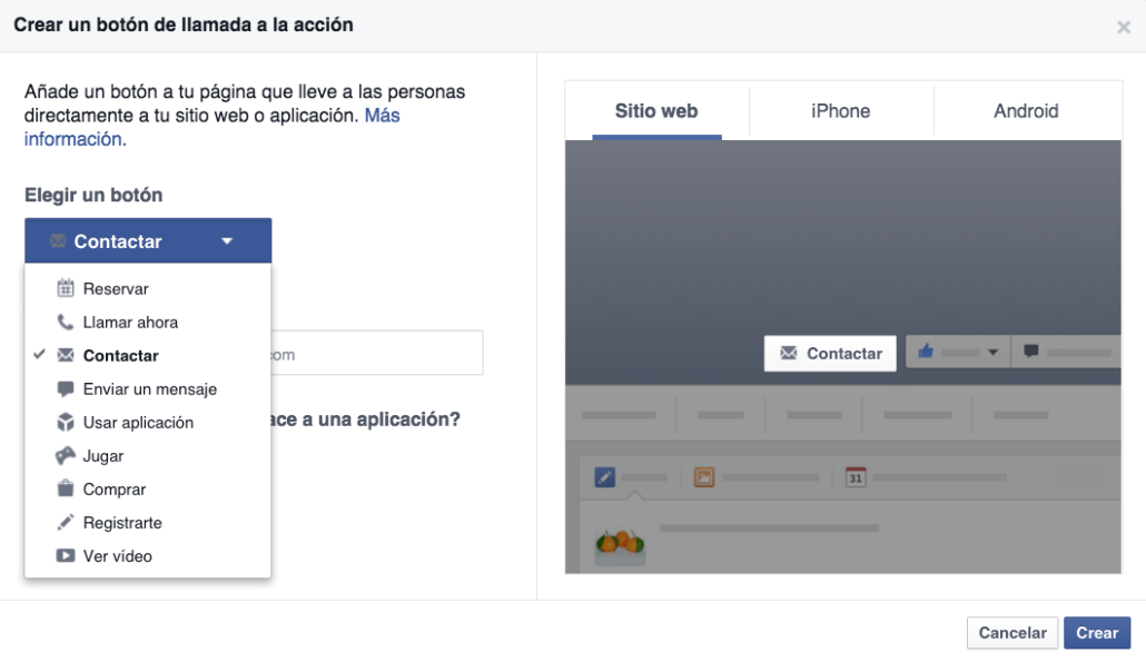 facebook call to action boton opciones