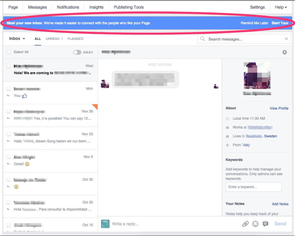 Cambios mensajes privado en fan page de Facebook