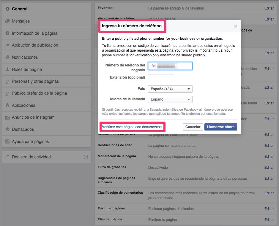 como verificar tu pagina de facebook