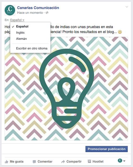 publicar un post en varios idiomas en facebook 0